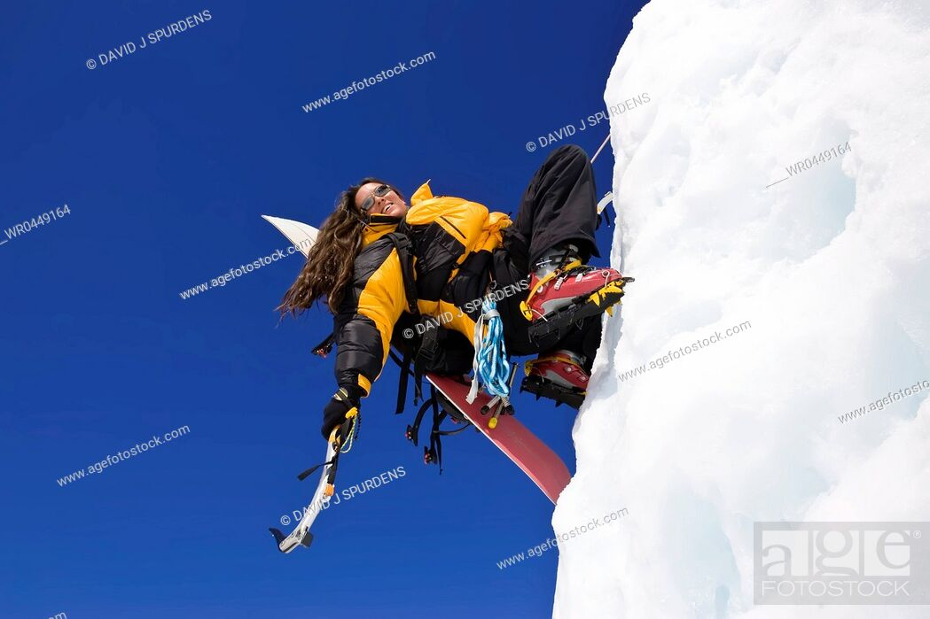Stock Photo: An ice climber having fun.