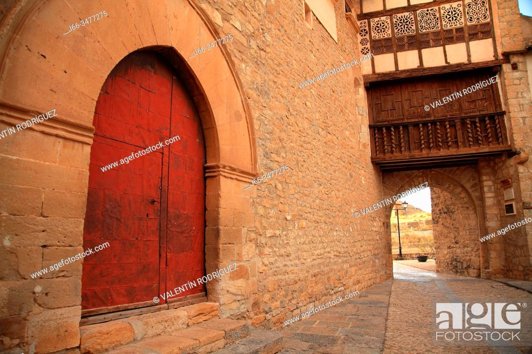 Stock Photo: Portal of the Nuns in Mirambel. Teruel.