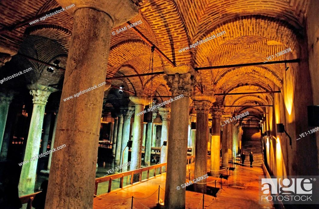 Stock Photo: Columns inside one of many Byzantine cisterns underneath Istanbul, Turkey.