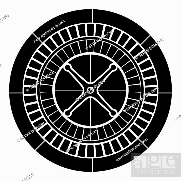 Stock Vector: Roulette icon black color vector illustration flat style simple image.