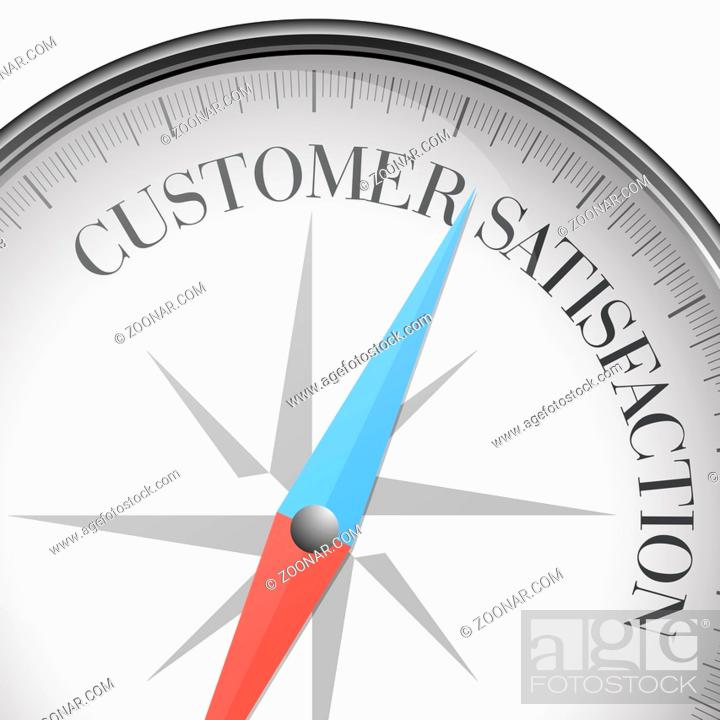 Stock Photo: detailed illustration of a compass with Customer Satisfaction text, eps10 vector.