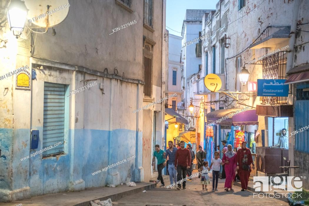 Stock Photo: Busy Back Street in Larache, Morocco.