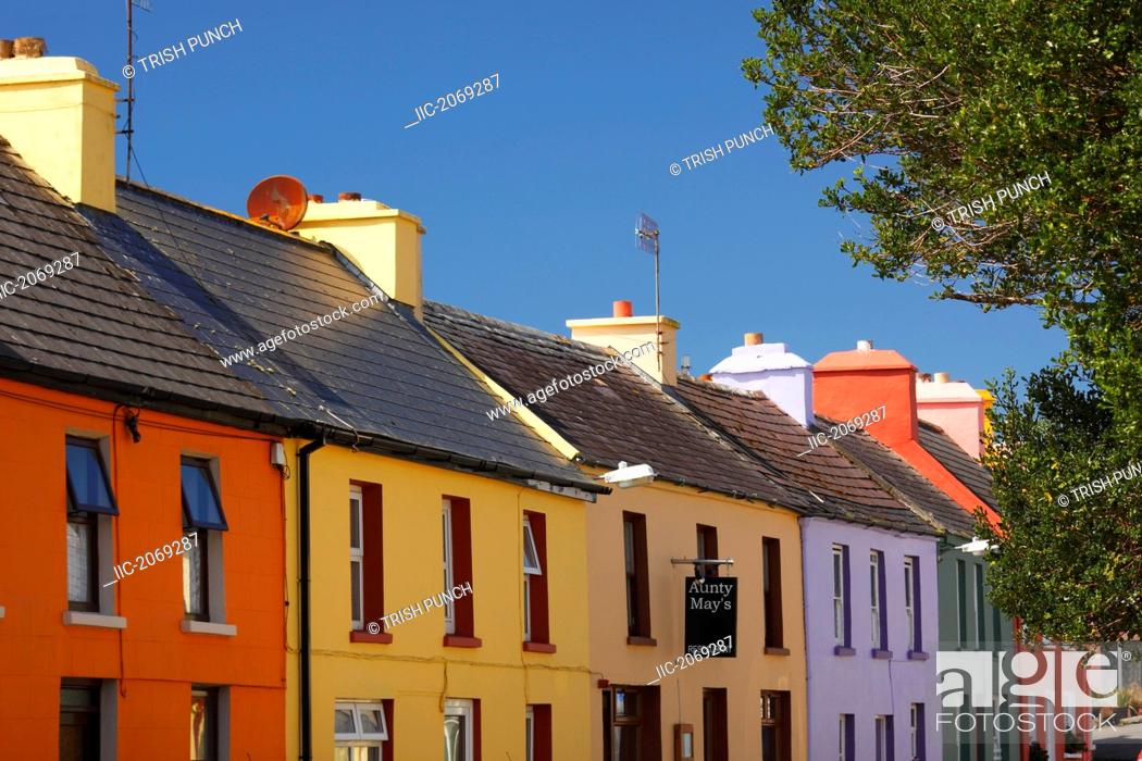 Stock Photo: Painted Houses On Main Street Of Eyeries Village On The Beara Peninsula In West Cork, Eyeries County Cork Munster Region Ireland.