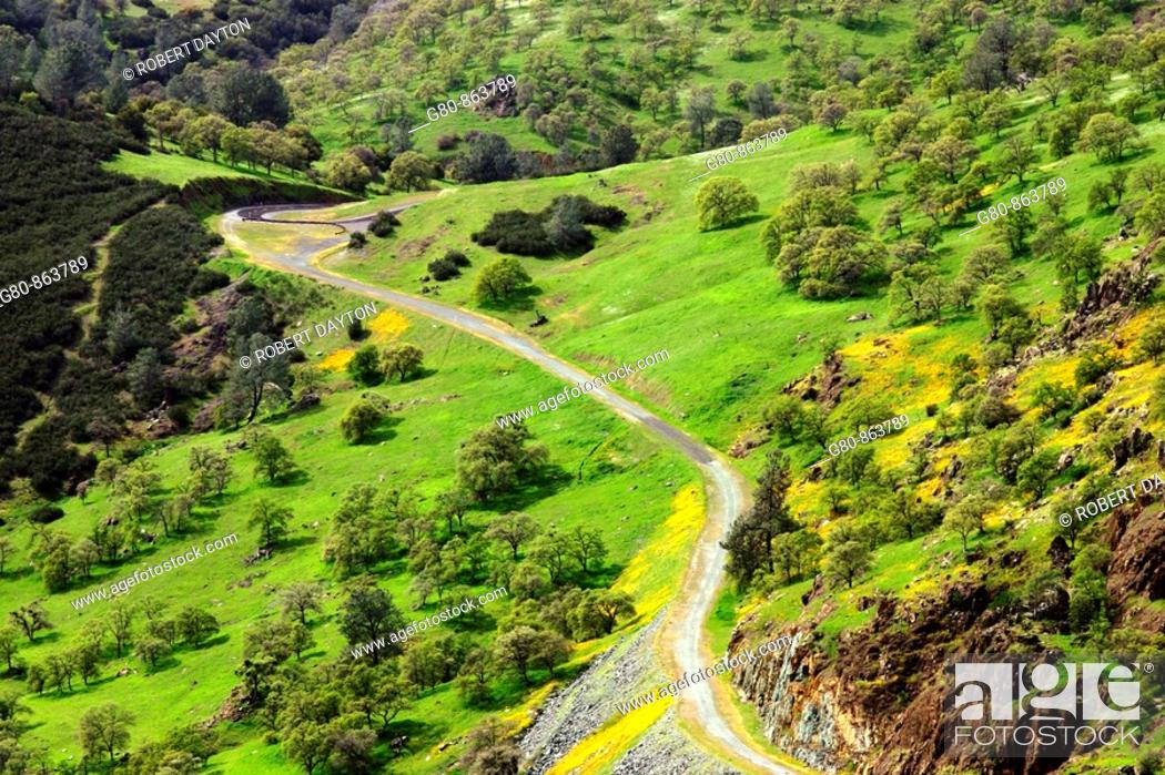 Stock Photo: A winding road in the California foothills.