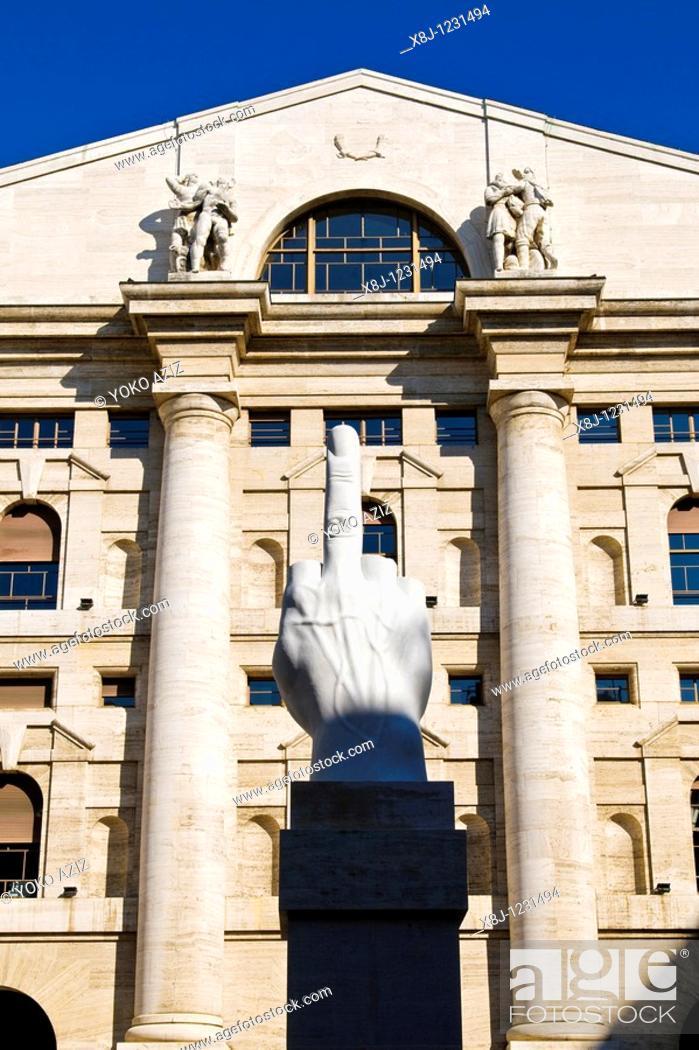 9cf47b6167 Stock Photo - Sculpture by Maurizio Cattelan, Piazza Affari, Affari square,  Milan, Italy