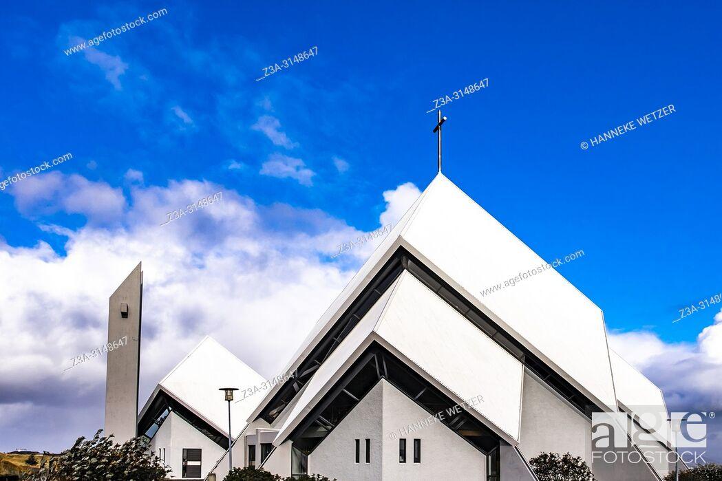 Stock Photo: Church of Seltjarnarnes in Reykjavik, Iceland.