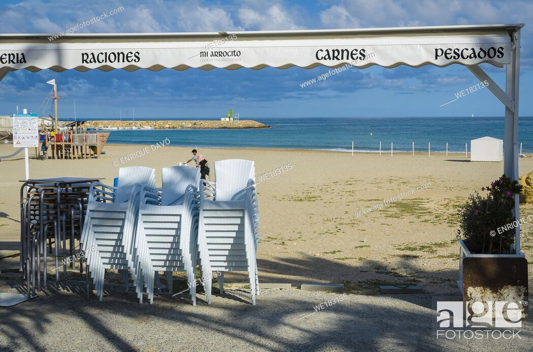 Stock Photo: View of a chairs in Campello beach, Alicante province, Spain.