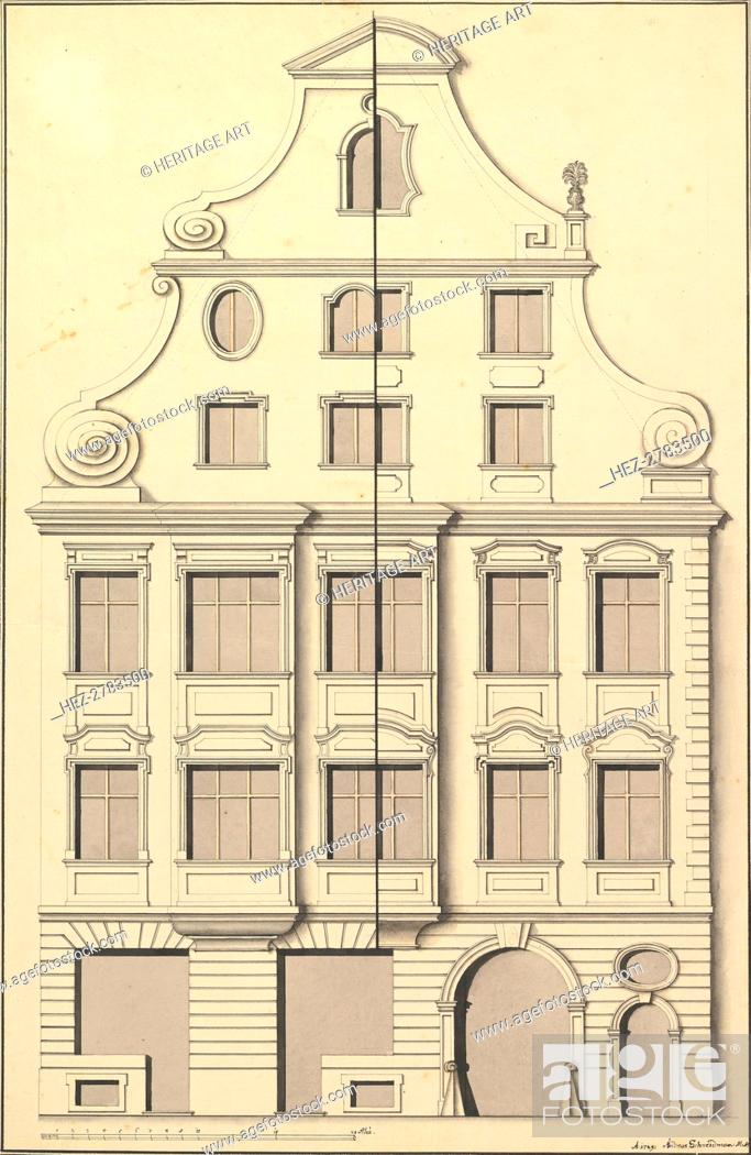 Stock Photo: Drawing for the Street Elevation of a Town House, 1729. Creator: Andreas Schneidmann.