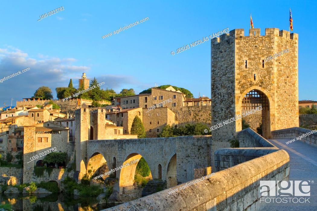 Stock Photo: Medieval Bridge (11th Century), in Besalu, a medieval village declarated Historical-Artistic Site, ubicated in La Garrotxa, Girona province.
