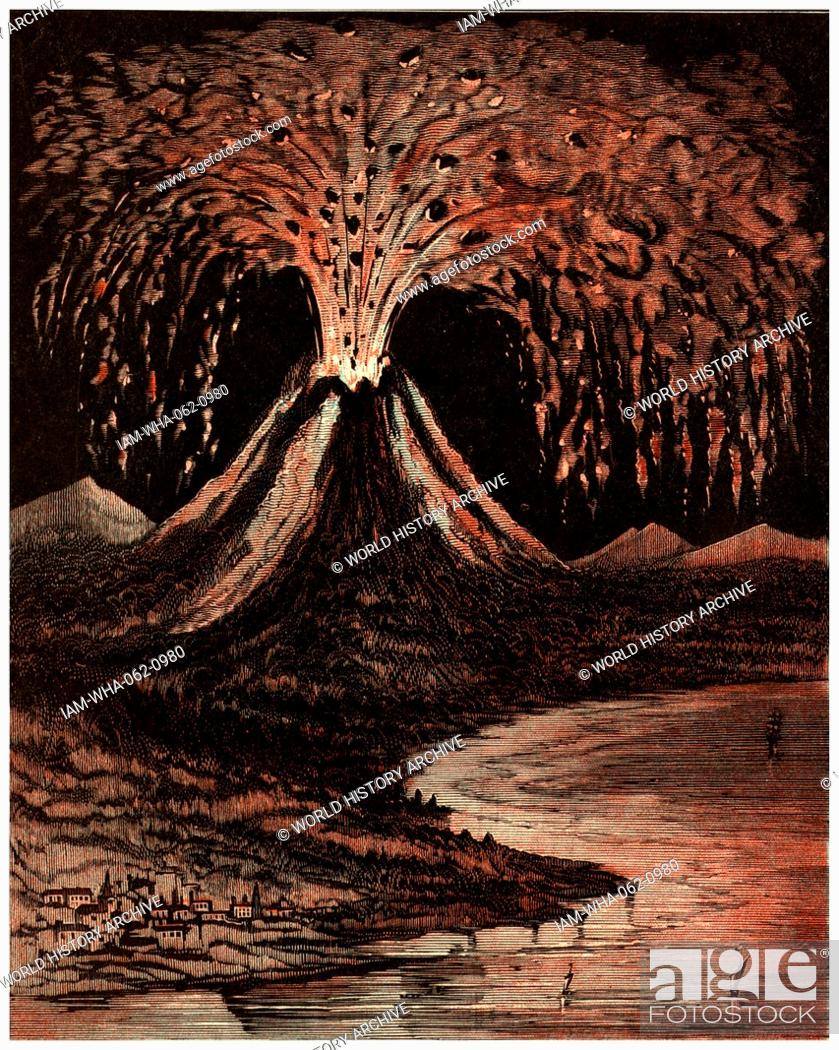 Stock Photo An American Illustration Of The Volcano Which Erupted At Vesuvius In 79 AD