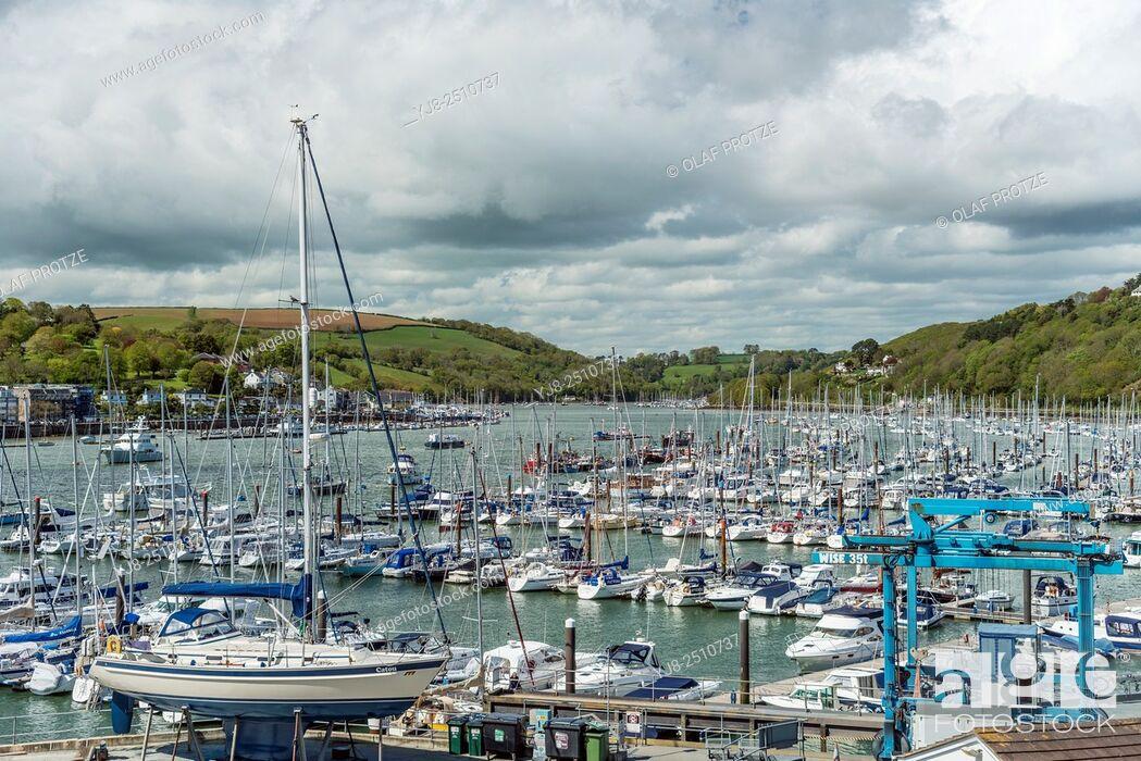 Stock Photo: View at Dartmouth Marina at the River Dart, Devon, England, UK.