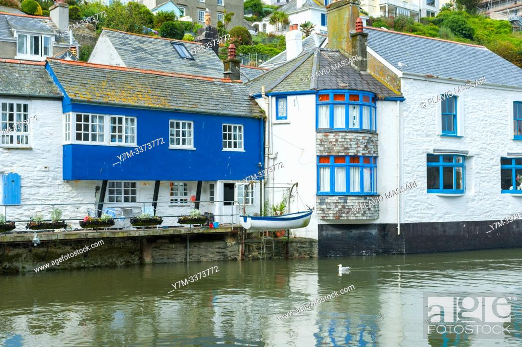 Stock Photo: Polperro is a large village, civil parish, and fishing harbour within the Polperro Heritage Coastline in south Cornwall, England.