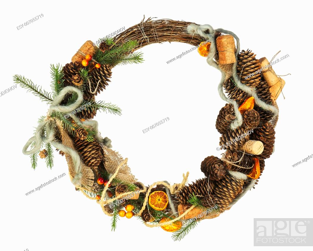 Stock Photo: Green Christmas Wreath with Decorations Isolated on White Background. Closeup.