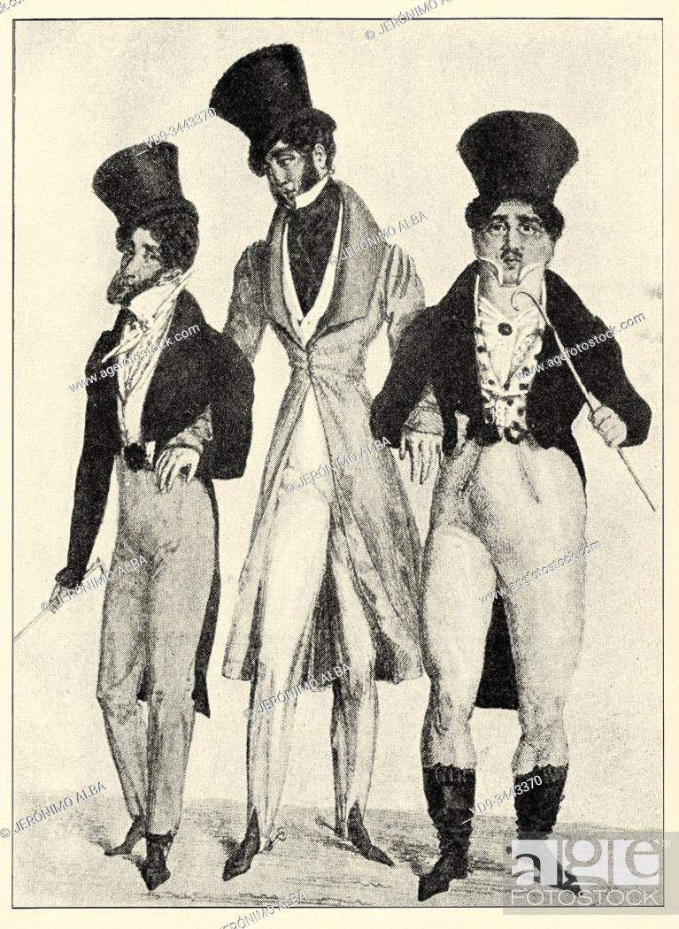 Stock Photo: Elegant and modern clothing and apparel from the early 1800s in France. History of France, old engraved illustration image from the book Histoire contemporaine.
