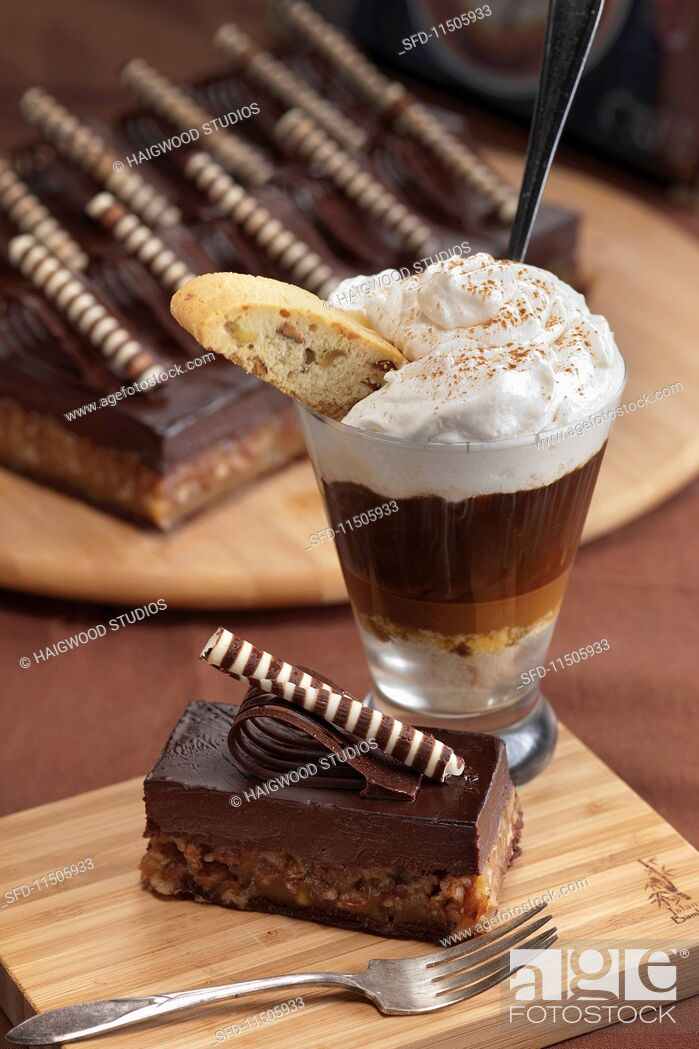 Stock Photo: A chocolate espresso desert with caramel served with a chocolate cake.