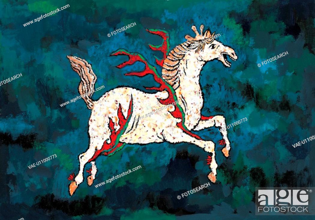 Stock Photo: mythical, horse, myth, white horse, tradition, mythology, animal.