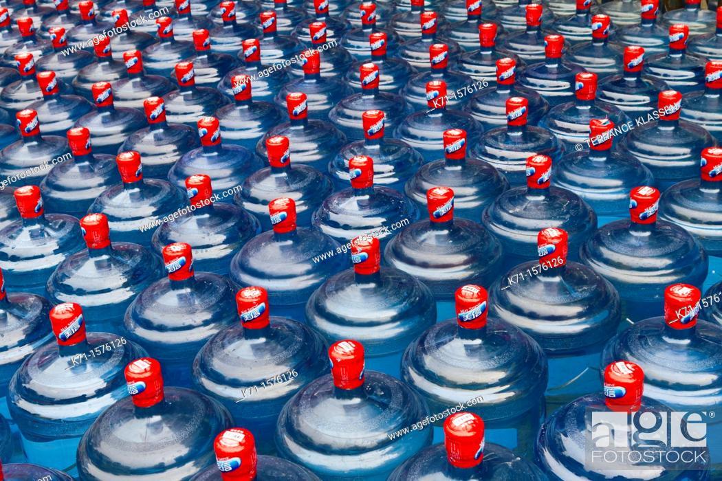 Stock Photo: Closeup of drinking water bottles in Chengdu, Sechuan, China.