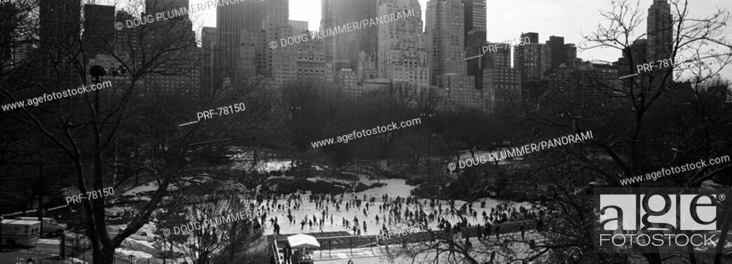 Stock Photo: Wollman Rink Ice Skating Central Park New York NY.