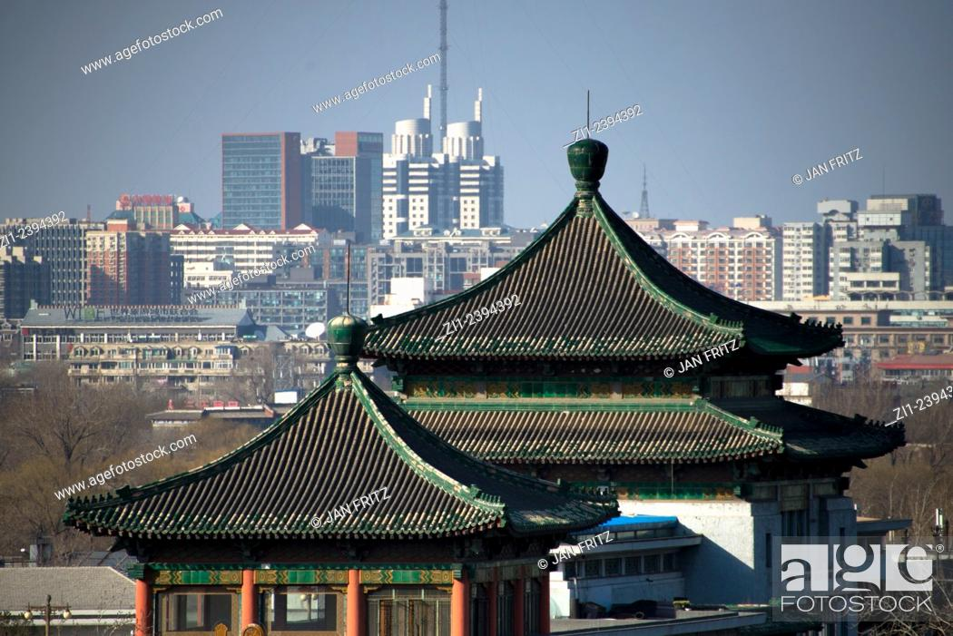 Stock Photo: view at temple and city centre from Jingshan park in Beijing.