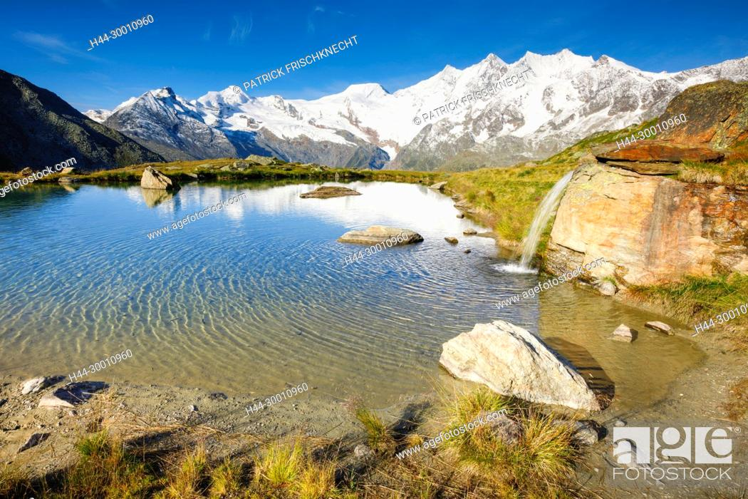 Imagen: Allalinhorn - 4027m, Alphubel - 4206m, Täschhorn - 4491m, Dom - 4545m, Wallis, Schweiz.