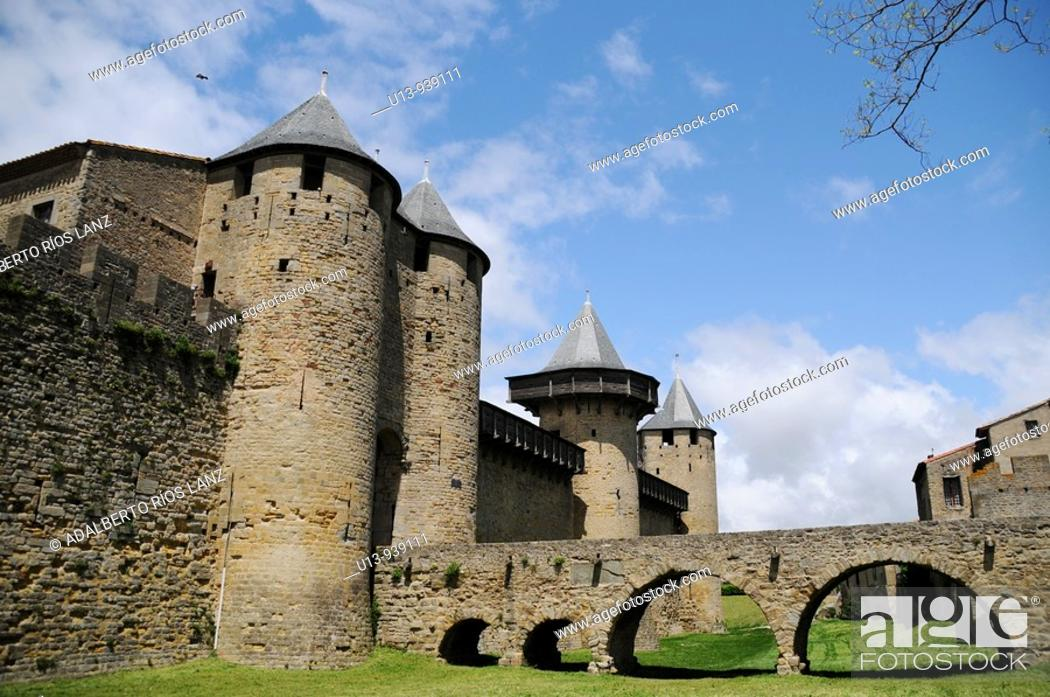Stock Photo: Fortified city of Carcassonne, Aude, Languedoc-Roussillon, France.