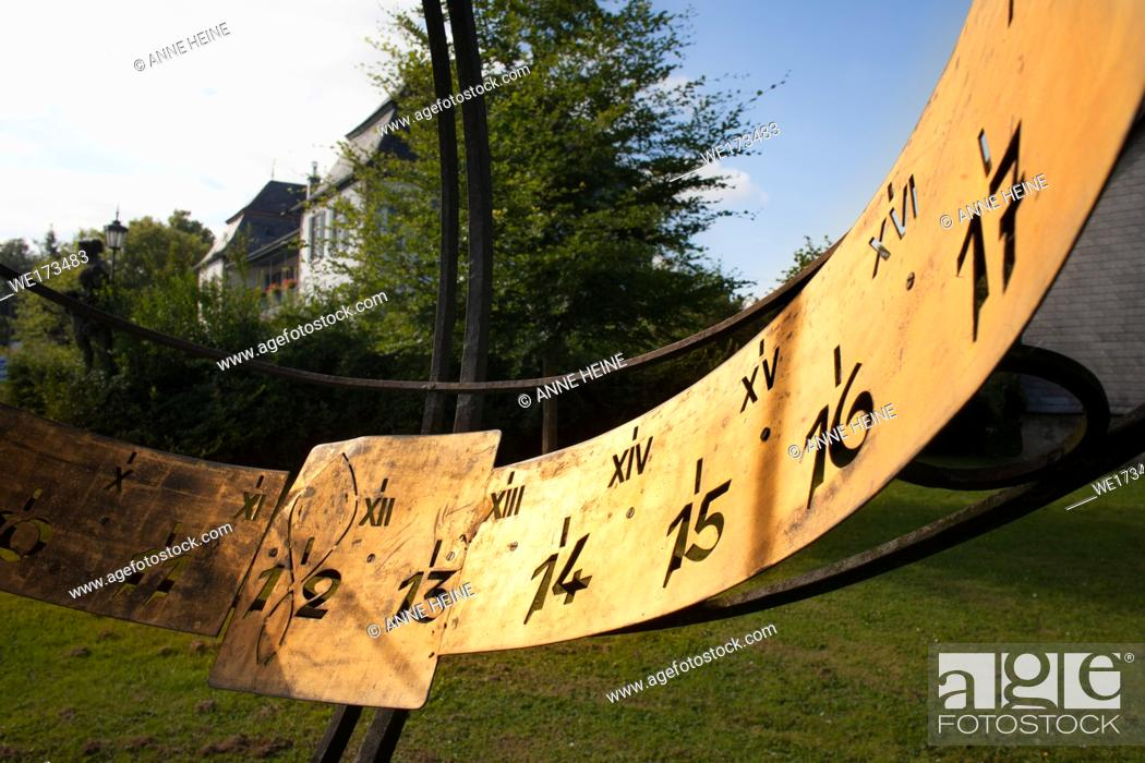 Stock Photo: Sundial, sun-dial, sun dial. Warstein, Haus Kupferhammer, Germany.