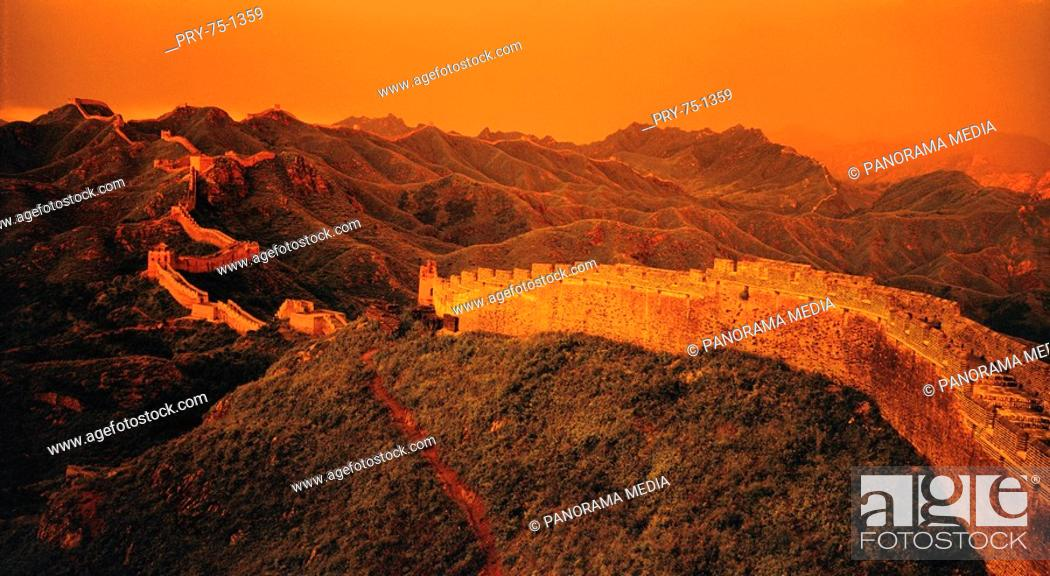 Stock Photo: High angle shot of Jinshanling Great Wall at dusk,Beijing.