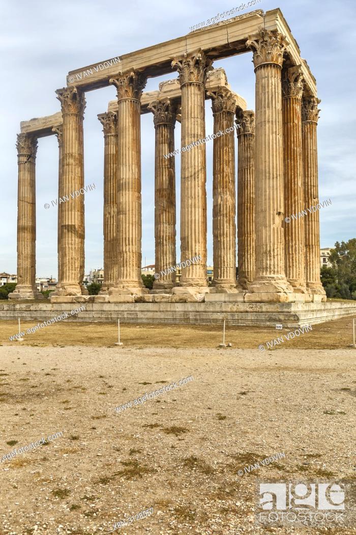 Stock Photo: Temple of Olympian Zeus, Olympieion, Athens, Greece.