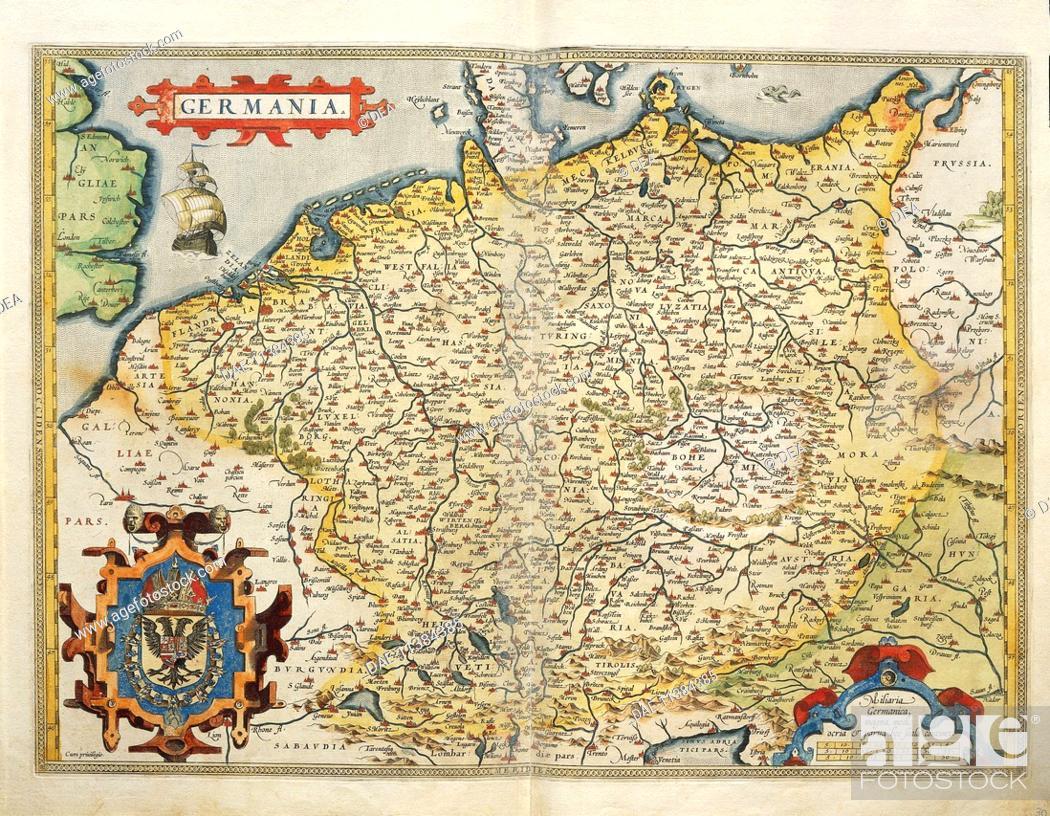 Stock Photo: Cartography, 16th century. Map of Germany, from Theatrum Orbis Terrarum by Abraham Ortelius (1528-1598), Antwerp, 1570.  Genoa Pegli.