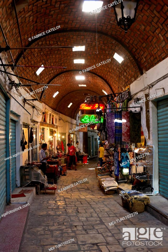 Stock Photo: Tunisia - Sousse - The souks in the medina.