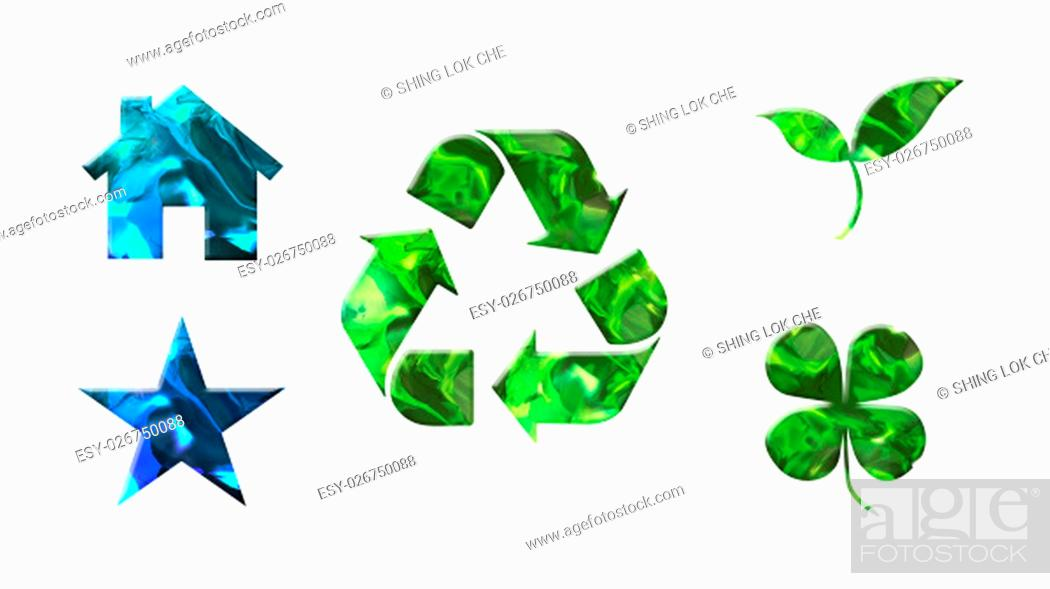 Stock Photo: crystal texture of green icons shape for environment protection concept.