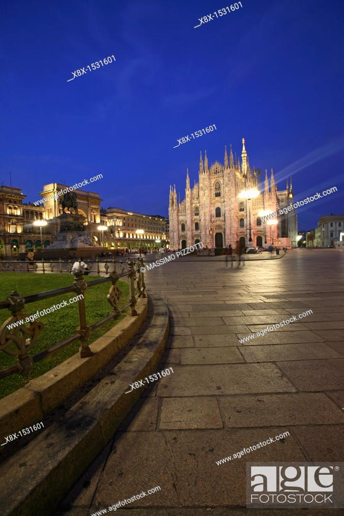 Stock Photo: Piazza Duomo and the Cathedral, Milan, Italy.