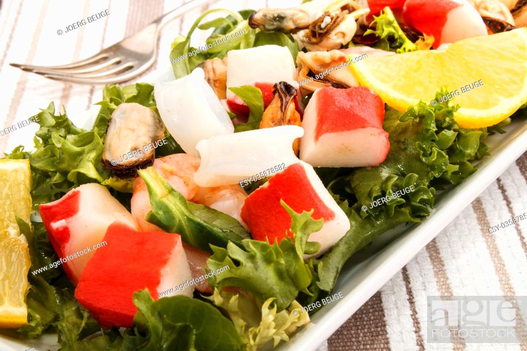 Stock Photo: cold fresh seefood slalad, fine dinning with healthy food.