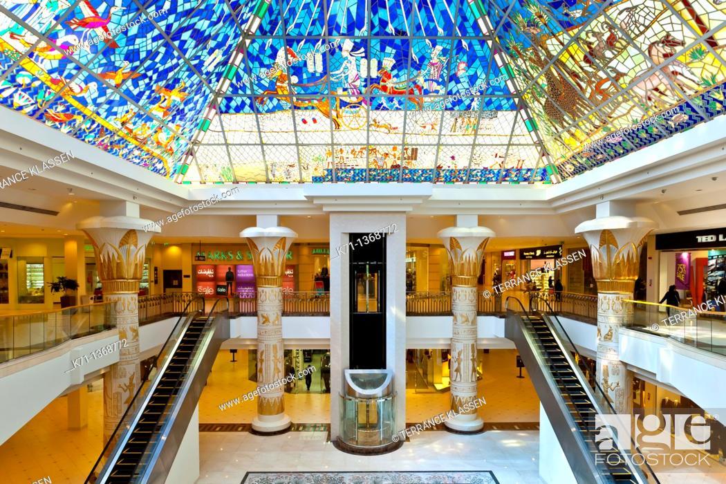 Stock Photo: Interior architecture at the Wafi shopping center in Dubai, UAE.