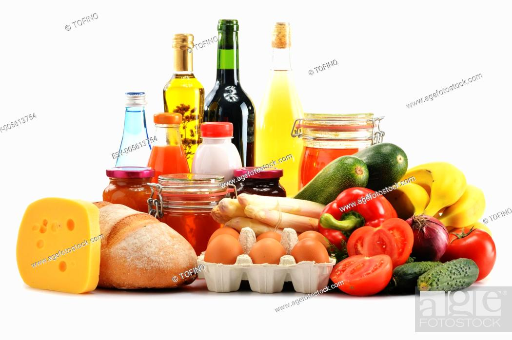 Stock Photo: Composition with variety of grocery products isolated on white background.