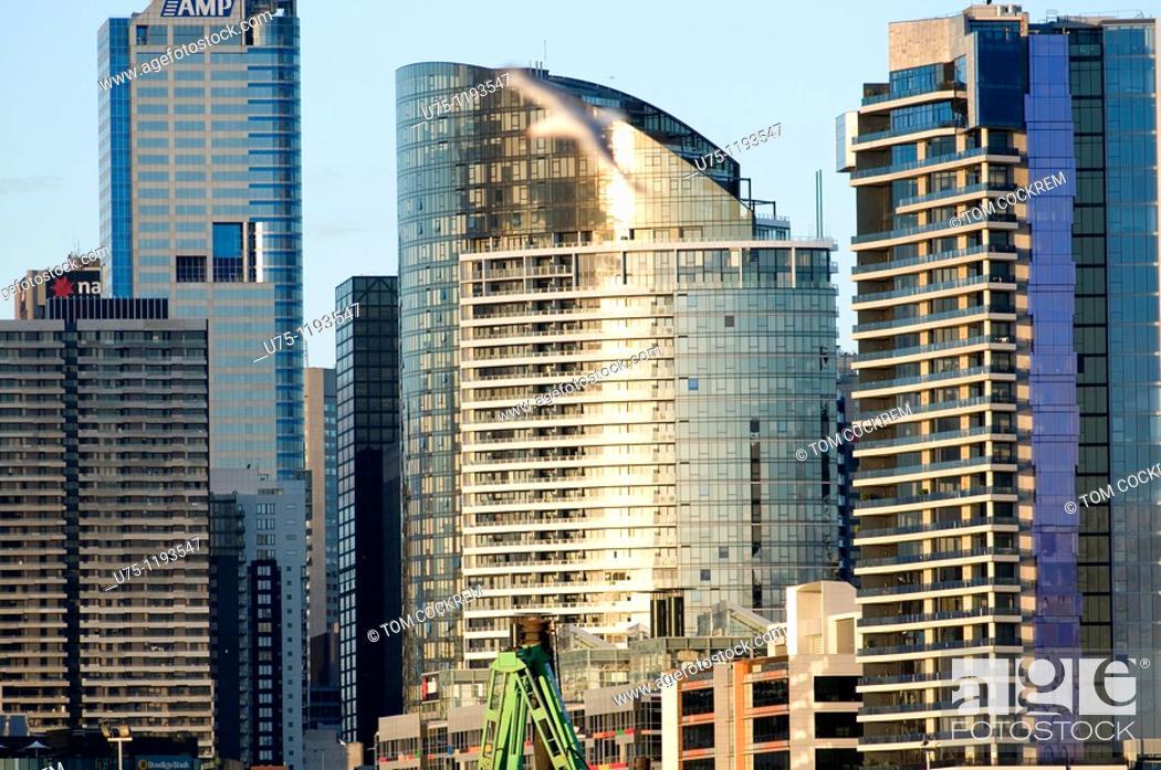 Stock Photo: Melbourne skyline from West, Victoria, Australia.