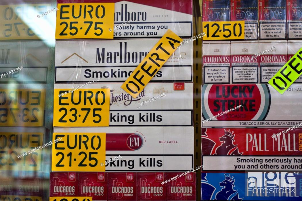 Detail of duty free tobacco shop in Gibraltar, Stock Photo