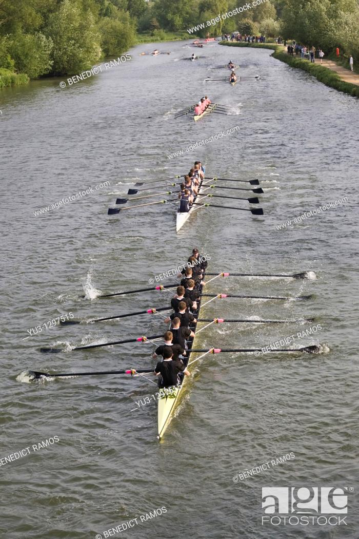 Stock Photo: Eights Week Oxford University college rowing competition on the Isis, Oxford, Oxfordshire, England.