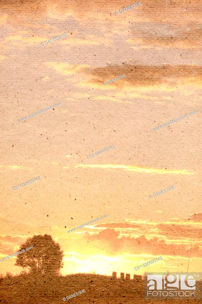 Stock Photo: Stylized vintage background with paper texture. Beautiful sunset. Suitable for cover on calendar of vintage paper series. Raster illustration.