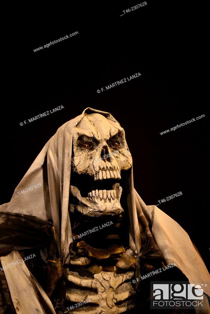 Stock Photo: Skelleton, Halloween party, Madrid, Spain.