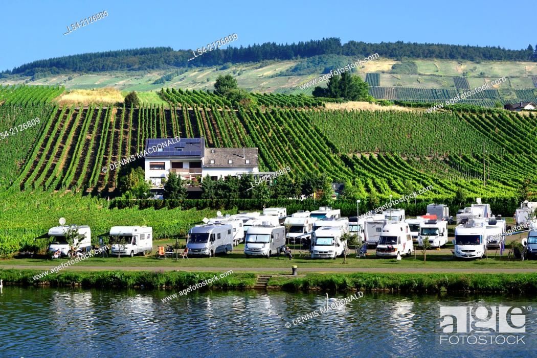 Stock Photo: Campground Mosel River Valley Germany Europe Vineyards Wineries Cruise DE Bernkastel.