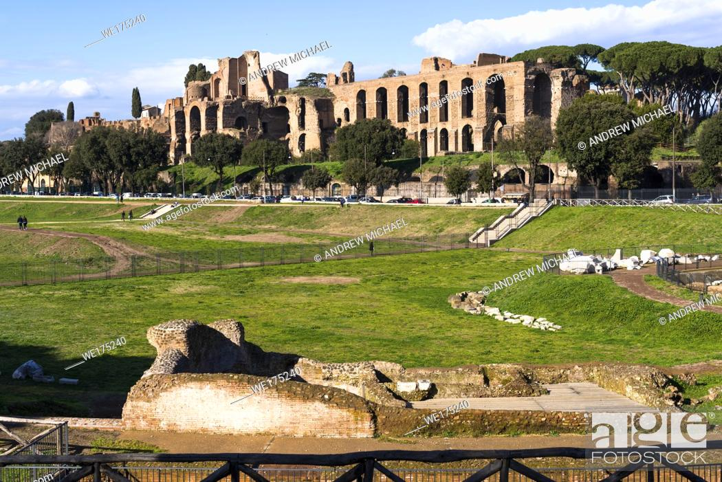 Stock Photo: Ruins of Domus Augustana on Palatine Hill seen from Circus Maximus, Rome, Lazio, Italy.