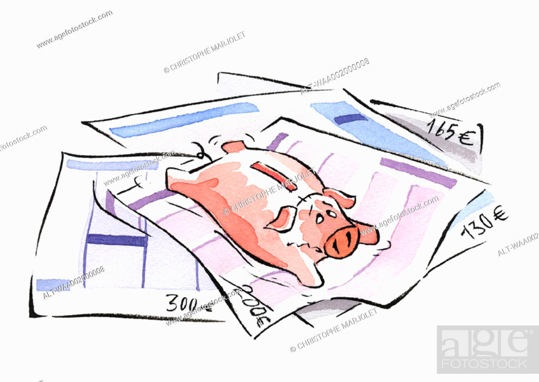 Stock Photo: Piggy bank lying on euro invoices.