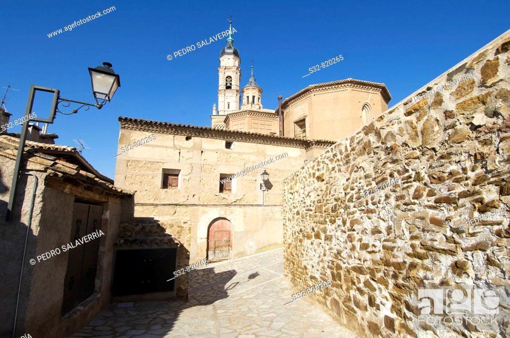 Imagen: Iglesia de Santa Mari'a (XIII - XIV), destaca torre mudejar (XVI); Ateca; Comarca Comunidad de Calatayud; Zaragoza; Arago'n; Espan~a.