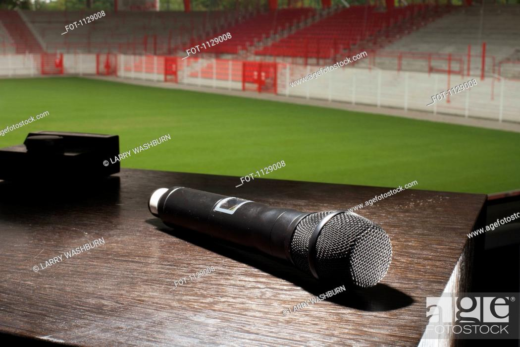 Stock Photo: A microphone on a table.