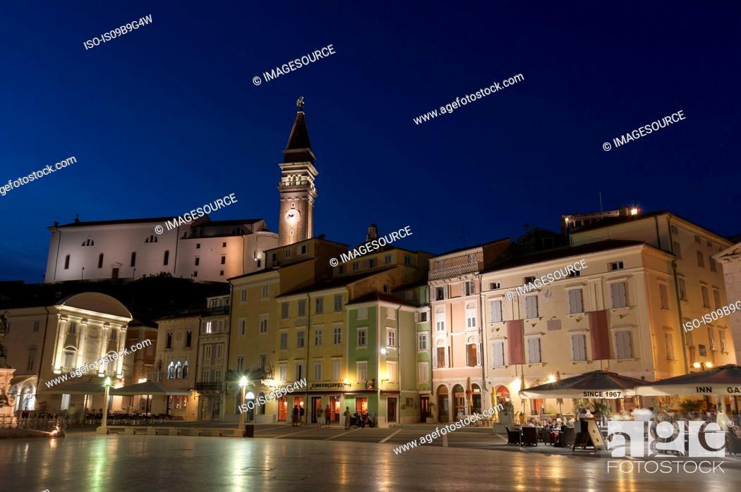 Stock Photo: View of Tartini square at night, Piran, Slovenia.