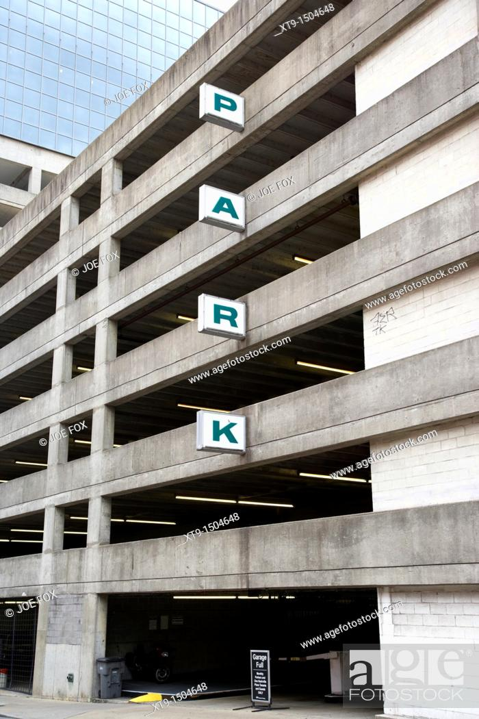 Stock Photo: grey multi storey car park in downtown Nashville Tennessee USA.