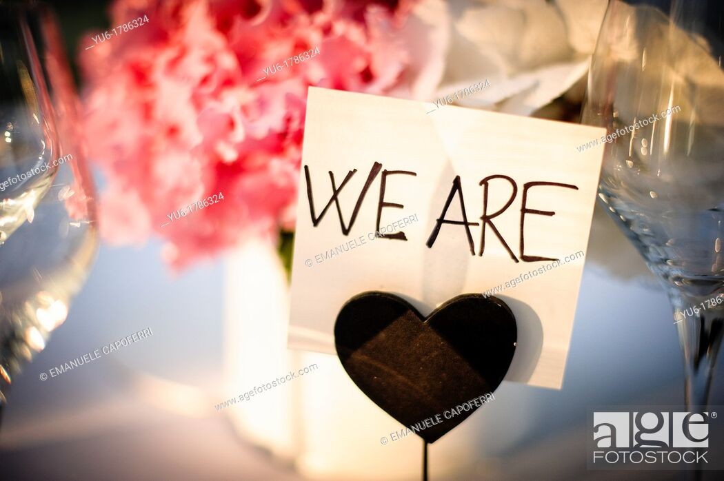 Stock Photo: Sign on a wedding table.