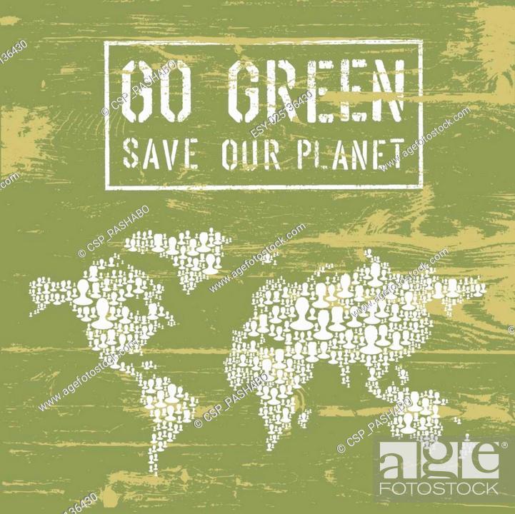 Stock Vector: Go Green Conceptual Poster. Vector.