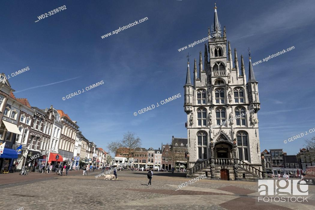 Stock Photo: Netherlands; Gouda, 2017, city center, showing its famous 15th century Town hall, The place where Gouda chesse fair takes place.